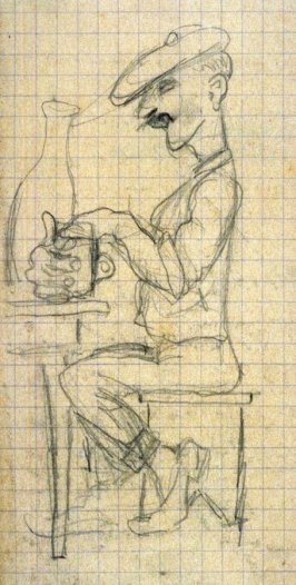 Untitled (Sketch of a man seated at a table w/mug)