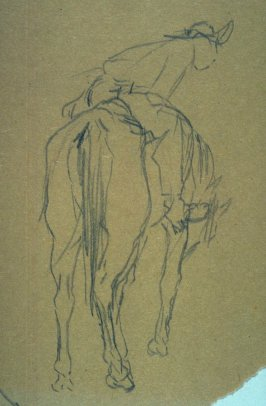 Sketch of a horse w/rider (3/4 view); study of horses foot LLcorner