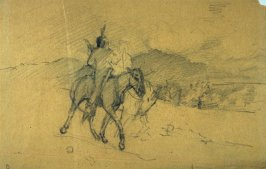 Sketch of 2 mounted Indians