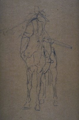 Sketch of armed horseman