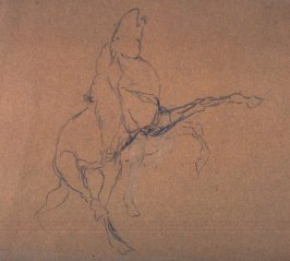 Sketch of rearing horse w/rider