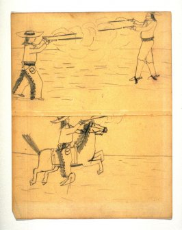2 sketches on single sheet - gun duel on foot - ride firing from saddle.