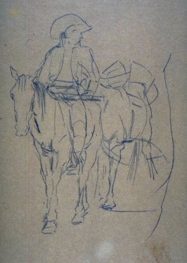 Sketch of a horse and rider w/pack horse