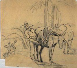 Sketch of a man saddling pack burros