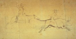 Sketch of 2 rodeo riders; 1 on horse, 1 on steer.