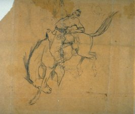 Sketch of rider and bucking bronco