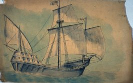 Sketch of sailing ship