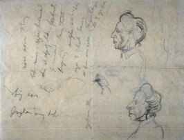 sketches of head of elderly woman; w/notationsof details of facial features: Reverse; 4 monograms & signature
