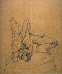 Untitled (Study of Two Nude Male Models Wrestling)