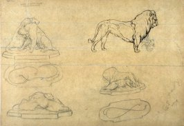 Untitled (Recto: Nude Male Study, Verso: Studies of Lions)