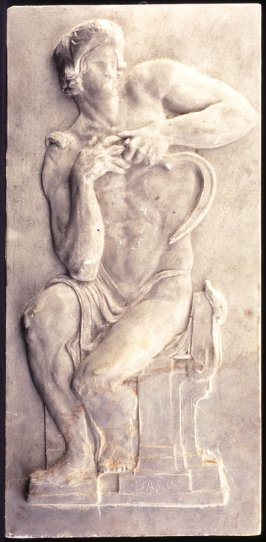 Plaque: seated man with sicle study for one of eight panels for bronze door