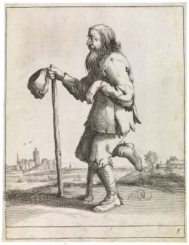Beggar standing on one foot, second on crutches, no. 5 from series of 26 Beggars and Peasants