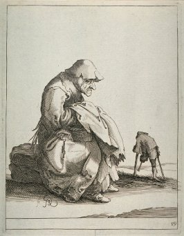 Old woman beggar seated, one-legged beggar man in distance, no. 19 from series of 26 Beggars and Peasants