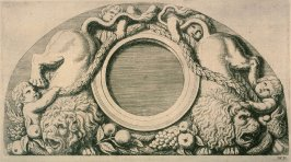 One of eight etchings of sculptured lunettes in the Hotel de Ville, Amsterdam