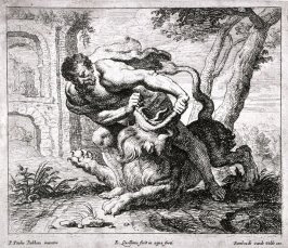 Samson killing the lion