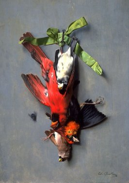 Still Life with green ribbon, fly, and four American birds