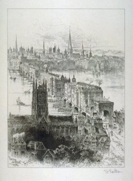 London Bridge in ancient days view from the southbank side