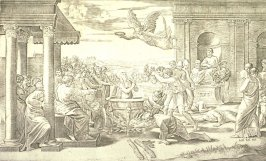 Martyrdom of St. Cecilia, after the engraving by Marcantonio Raimondi after the lost fresco (ca. 1518) by the Raphael workshop for the Villa Magliana, Rome