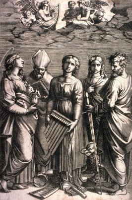 St. Cecilia, after the engraving by Marcantonio Raimondi after the painting by Raphael in the Pinacoteca Nazionale, Bologna