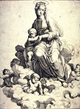 The Virgin Seated on the Clouds, after Marcantonio Raimondi's engraving after Raphael's painting, The Madonna of Foligno in the Vatican, Rome