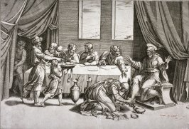 Christ at the table of Simon the Pharisee, after Marcantonio Raimondi's engraving of Raphael's design for a lunette fresco for S. Trinità dei Monti, Rome