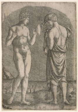 Man Showing an Axe to a Woman