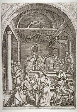 Christ Among the Doctors in the Temple, pl. 15 in The Life of the Virgin