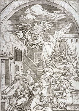 The Birth of the Virgin, pl. 4 from the series The Life of the Virgin, after the woodcuts by Albrecht Dürer