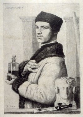 Bracquemond en 1852, tenant un flacon d'eau-forte [Bracquemond in 1852, Holding a Bottle of Etching Acid]