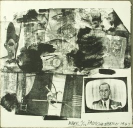 """MARK,"" in the book Rauschenberg's XXXIV Drawings for Dante's Inferno with commentary by Dore Ashton (New York: Harry N. Abrams, Inc., 1964)"