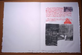Untitled, pg. 2, in the book Traces suspectes en surface (Suspect Traces on the Surface) by Alain Robbe-Grillet (West Islip, NY: ULAE, 1978)