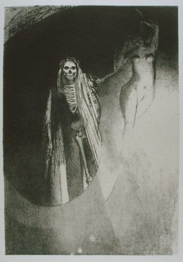 """La Mort: C'est moi qui te rends serieuse; enlacons- nous"" (Death: ""It is I who make you serious; let us embrace each other""), plate XX, btwn. pgs. 190 and 191, in the book La Tentation de Saint-Antoine (Editions Ambroise Vollard, 1938)"