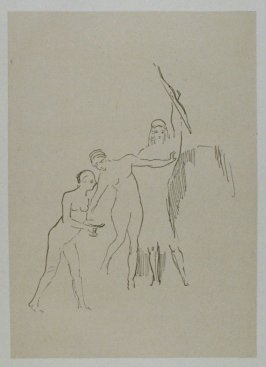 """Immediatement surgissent trois deesses"" (Immediately three goddesses arise) , plate XI, btwn. pgs. 122 and 123, in the book La Tentation de Saint-Antoine (Editions Ambroise Vollard, 1938)"