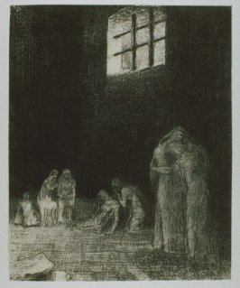 """""""Dans l'ombre des gens pleurent et prient entoures d'autres qui les exhortent"""" (In the shadow are people, weeping and praying, surrounded by others who are exhorting them), plate VI, btwn. pgs. 88 and 89, in the book La Tentation de Saint-Antoine (Edition"""