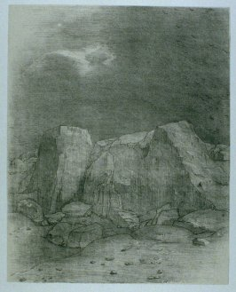 """Et il distingue une plaine aride at mamelonneuse"" (And he discerns an arid, knoll-covered plain) , plate VII, btwn. pgs. 6 and 7, in the book La Tentation de Saint-Antoine (Editions Ambroise Vollard, 1938)"