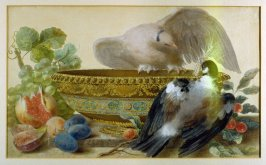A China Dish with Birds and Fruits on a Ledge