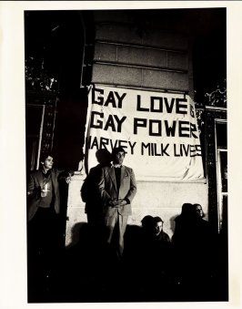 Untitled (Standing figure with Gay Love is Gay Power, Harvey Milk Lives, Harvey Milk Candlelight Vigil, San Francisco)