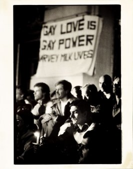 Untitled (Seated crowd with Gay Love is Gay Power, Harvey Milk Lives, Harvey Milk Candlelight Vigil, San Francisco)