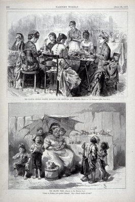 The Flower Mission - Making Bouqets for Hospitals and Prison, and The Heated Term from Harper's Weekly, (July 28, 1877), p. 588