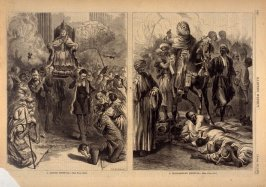 A Romish Festival -and- A Mohammedan Festival - two illustrations from p.348 Harper's Weekly 26 April 1873
