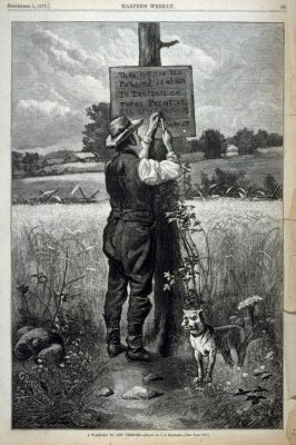 A Warning to City Visitors - from Harper's Weekly,  (September 1, 1877), p. 685
