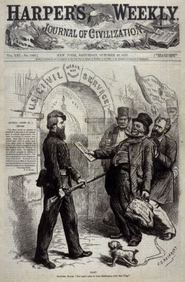 """Halt! Sentinel Hayes: """"You can' come in here Gentlemen, with that Flag!"""" - Title page from Harper's Weekly (4 October 1873)"""