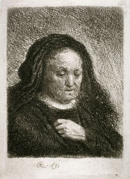Old Woman with a Hand on her Chest