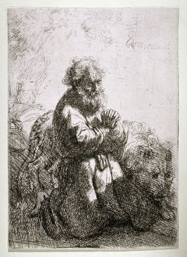 St. Jerome Kneeling in Prayer, looking down
