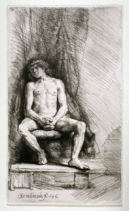 Nude Youth Seated Before a Curtain