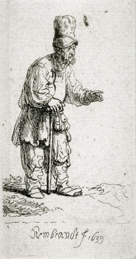 Peasant in a High Hat, Standing, Leaning on a Stick