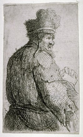 Old Man Seen from Behind, profile to right of half figure
