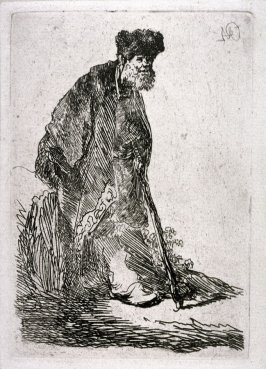 Man in a Coat and Fur Cap, Leaning Against a Bank