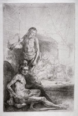 Nude Man Seated and Another Standing, Woman and Baby in the Background