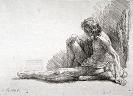 Nude Man Seated on the Ground, one leg extended